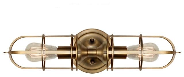 2-Light Bath Light, Antique Brass Finish