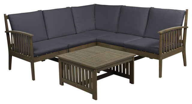 Maud Outdoor 5 Seater Acacia Wood Sofa Sectional Set Craftsman Outdoor Lounge Sets By Gdfstudio