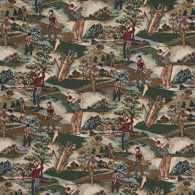 Golfers Golf Course and Golf bags Themed Tapestry Upholstery Fabric By The Yard
