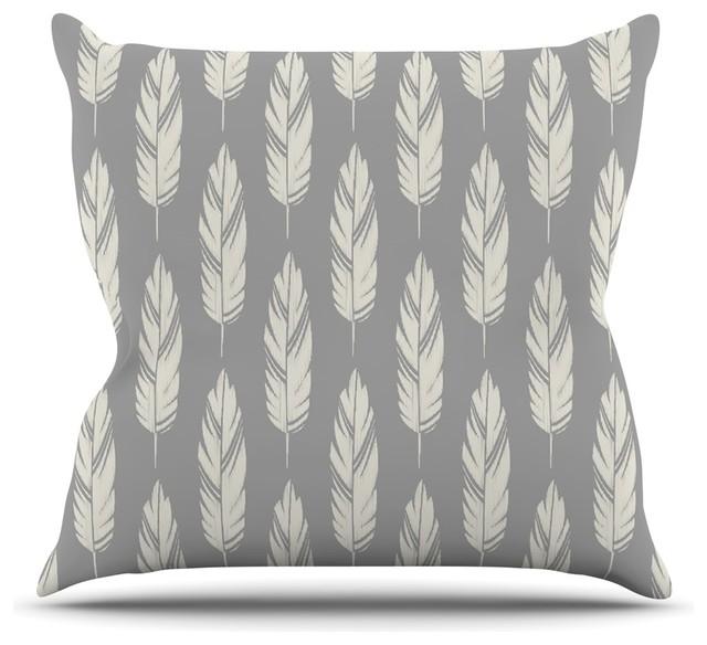Amanda Lane Quot Feathers Gray Cream Quot Gray Pattern Throw