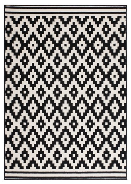 Low-Pile Patterned Area Rug, Black and White, 80x150 cm