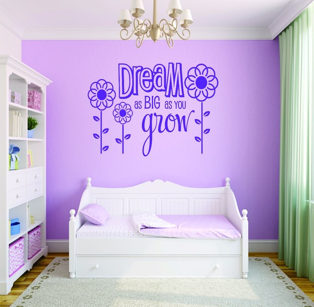 Decal Dream As Big As You Grow Flower Design Baby Girl 20x30