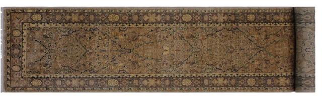 Ziegler Peshawar Carey Light Tan/Light Brown Hand-Knotted Wool Rug, 2'8x11'6