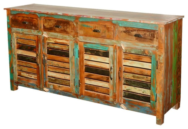 Reclaimed Wood Shutter Door Sideboard, Sierra Living Concepts farmhouse- buffets-and-sideboards - Reclaimed Wood Shutter Door Sideboard, Sierra Living Concepts