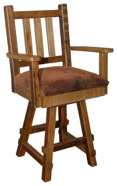 Rustic Reclaimed Barn Wood Swivel Counter Stool With Arms