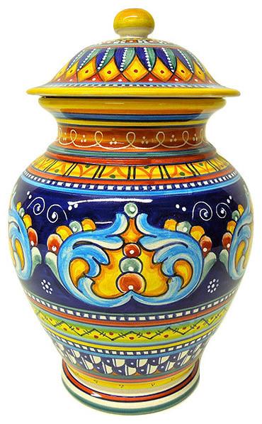 Deruta Ceramiche Sberna Antico Geometrico Canister - Mediterranean ...
