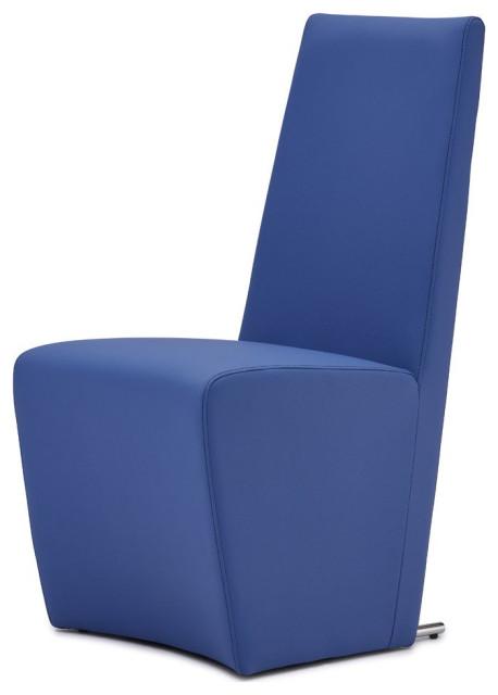 Boston High Back Modern Dining Chair - Dark Blue