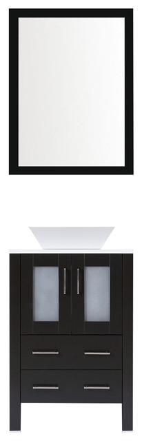 "Modern Vanity Sink Base With Mirror And Vessel Sink, Espresso, 24""."