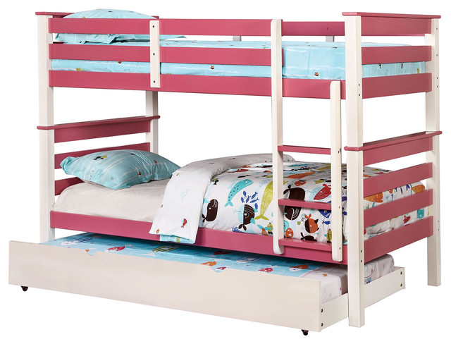 Children 2 Tone Wood Kids Bunk Bed With Step Ladder Pink White