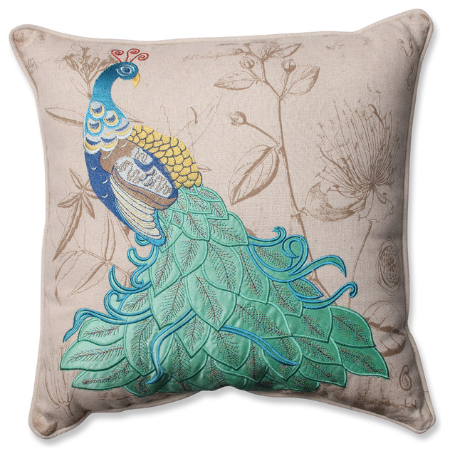 Traditional Throw Pillows : Peacock Applique Corded Throw Pillow - Traditional - Decorative Pillows - by Pillow Perfect Inc