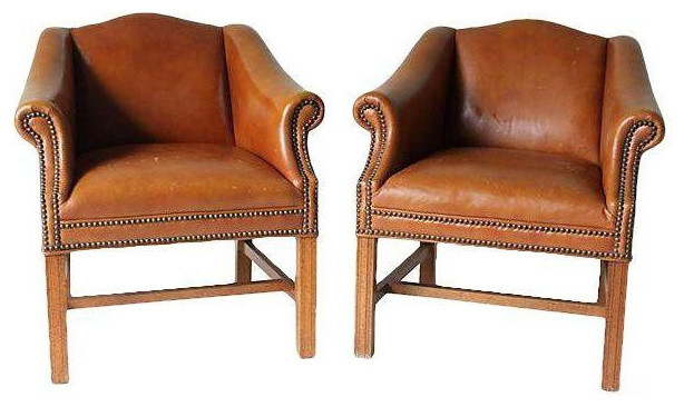 distressed camel leather club chairs - a pair