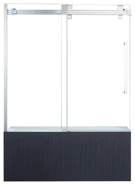 OVE Decors Chester 60 in. Chrome Frameless Sliding Bathtub Door