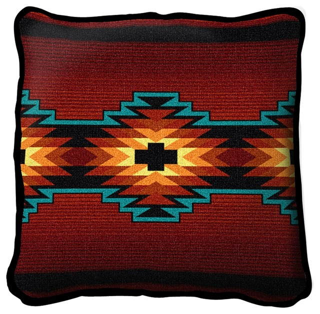 Southwestern Pillows And Rugs : Southwest Geometric Deep Red Pillow - Southwestern - Decorative Pillows - by Fine Art Tapestries