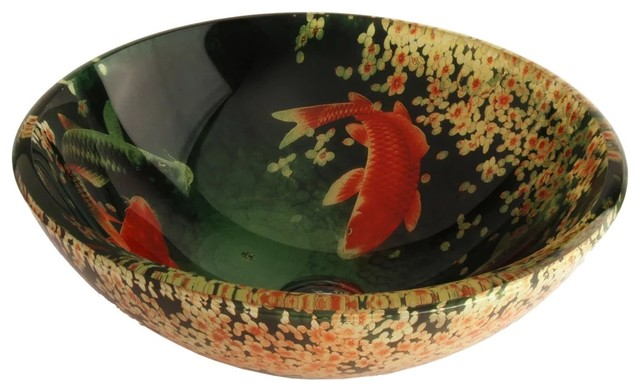 Koi And Lily Pond Glass Vessel Bathroom Sink