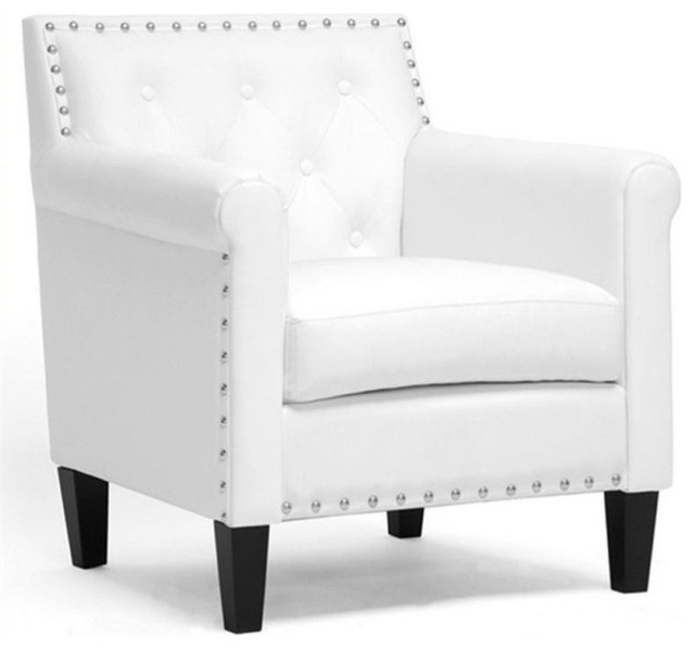 Bowery Hill Faux Leather Accent Chair, White