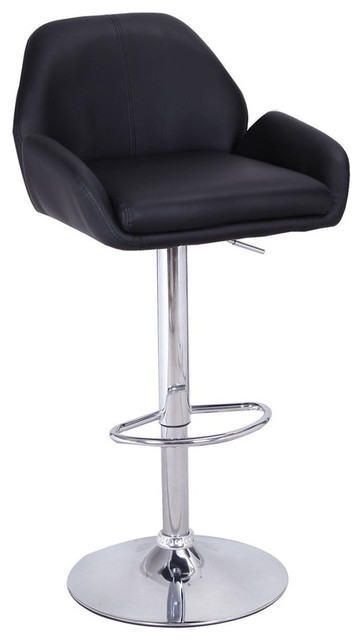 Swivel Adjustable Button Tufted Faux Leather Barstool