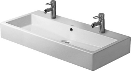 My plan was for a single trough sink with two faucets, the Duravit Vero was  planned.