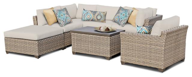 Hampton Outdoor 7 Piece Wicker Patio Set, Beige Tropical Outdoor Lounge