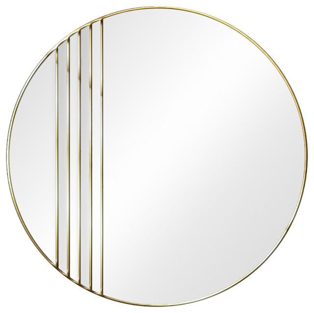 Meridian Original Handcrafted Art Deco Round Wall Mirror, Gold, 80 Cm