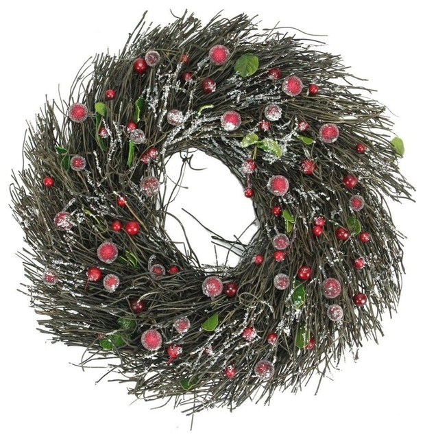 13 Frosted Brown Twig Christmas Wreath With Leaves And Berries.