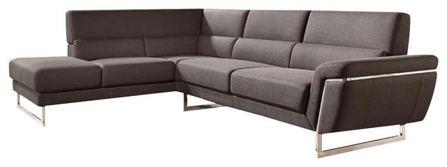 Divani Casa Navarro Modern Brown Fabric Sectional Sofa ...