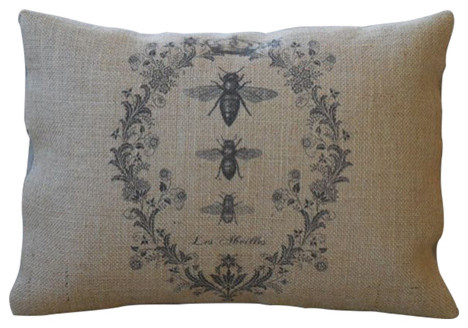 "French Bee Burlap Pillow, 12""x16""."