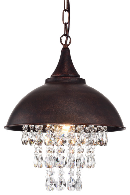 1-Light Antique Copper Dome Pendant With Crystals.