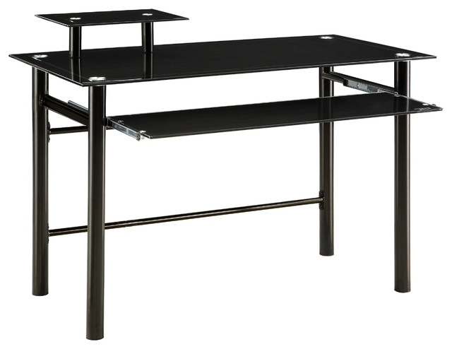 Innovex Janus Black Glass Desk Industrial Desks And Hutches By
