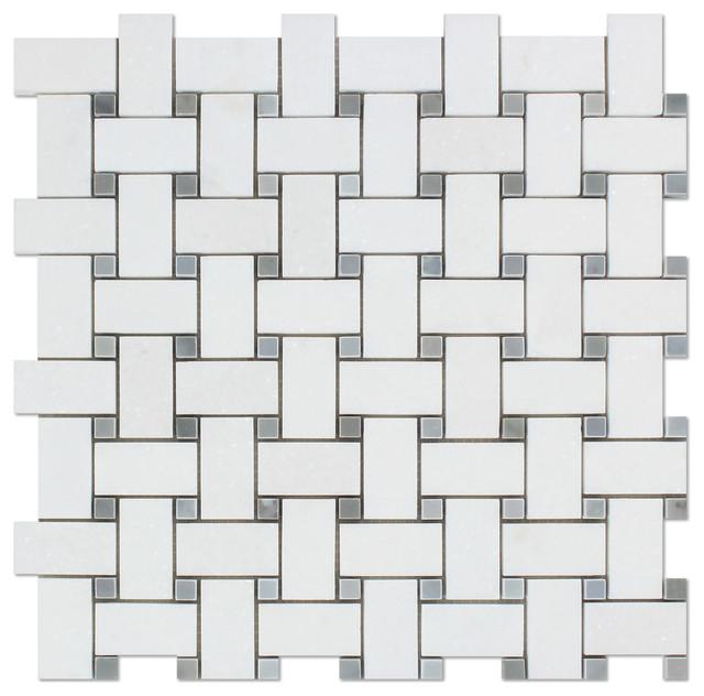 12 X12 Thos White Greek Marble Honed Basketweave Mosaic Tile
