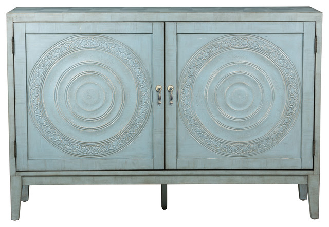 Pulaski Briane Embossed Door Console Table, Antique Blue  Transitional Buffets And Sideboards