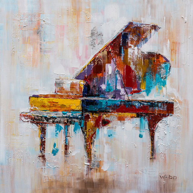 Quot Colorful Grand Piano Quot Hand Painted Canvas Art 40 Quot X40 Quot Contemporary Paintings By