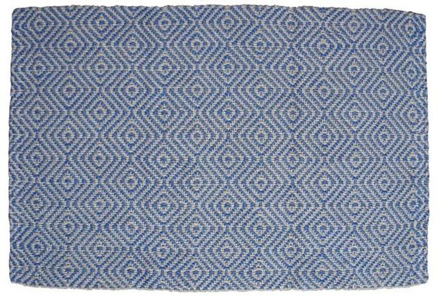 Gåsöga Jute Door Mat, Blue, 90x60 cm