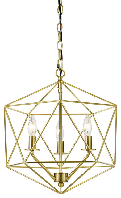 Bellini 3-Light Chandelier, Brushed Gold.