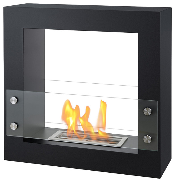 Libson freestanding ventless ethanol fireplace ul cul for Contemporary ventless fireplace