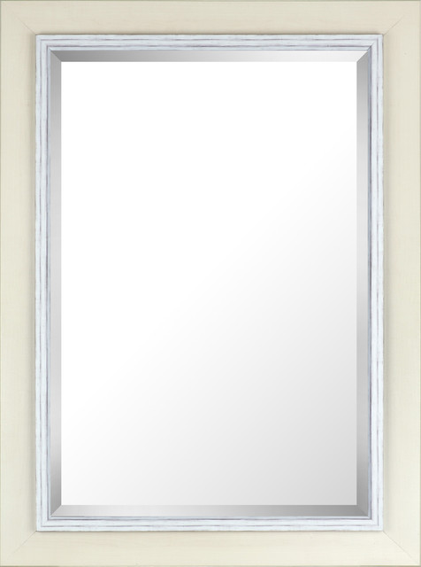 "31.25""x43.25"" White-Wash Wood Frame With Liner Beveled Mirror."