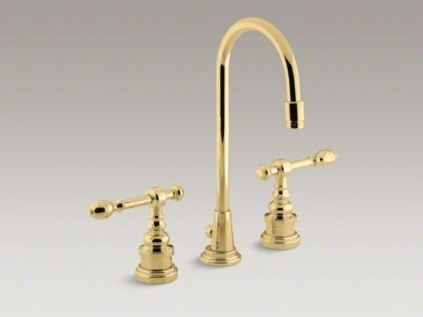 Kohler Brass Kitchen Faucet : KOHLER IV Georges Brass(R) widespread bathroom sink faucet with lever ...