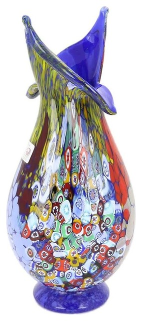 Murano Gl Millefiori Art Gl Blooming Flower Vase, Blue ... on art glass flower vase, blue glass vase, waterford flower vase, yellow flower vase, murano ashtray, lalique flower vase, artificial sunflowers in vase, bamboo flower vase, murano bowl, poetry flower vase, heisey flower vase, snoopy flower vase, tiffany glass flower vase, murano plates, carnival glass flower vase, swarovski flower vase, murano dish, murano figurine, green flower vase, murano art,