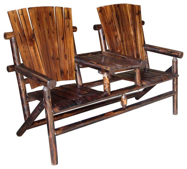 Char Log Tete A Tete Chair I Southwestern Outdoor Lounge