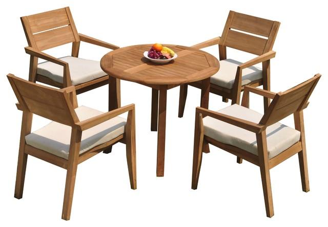 5-Piece Outdoor Teak Dining Set: 36\