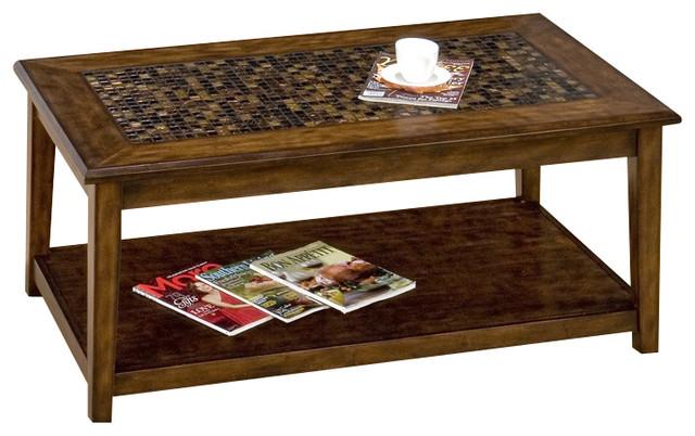 Jofran 698 1 Baroque Brown Rectangular Mosaic Tile Top Tail Table