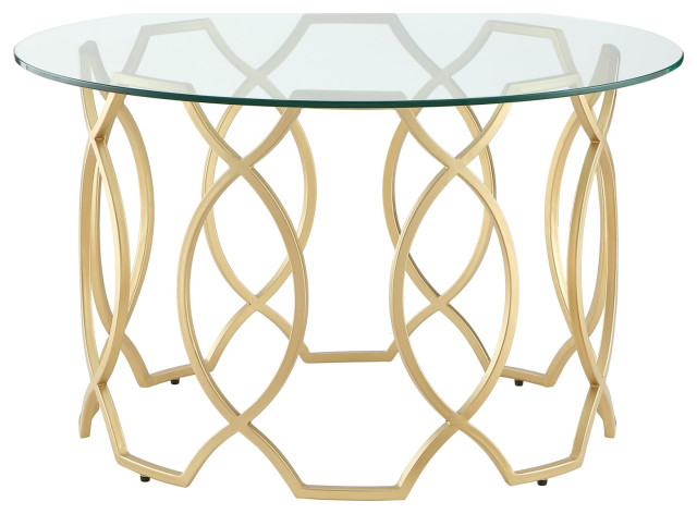 Nicole Miller Aziz Coffee Table Round, Gold Round Coffee Table