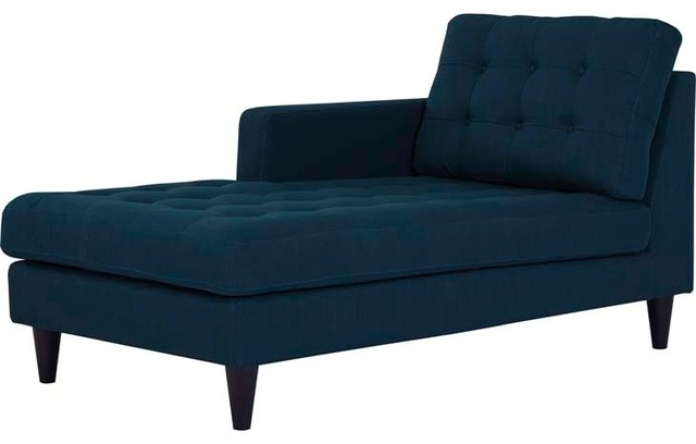 Empress Left-Arm Upholstered Fabric Chaise, Azure.