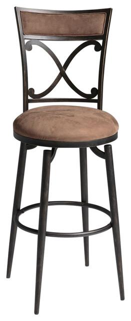 Superb Blackened Bronze Metal 30 Inch Bar Stool With Brown Microfiber Swivel Seat Dailytribune Chair Design For Home Dailytribuneorg