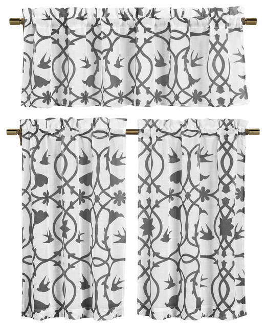 White Semi Sheer Window Curtain Set:  Botanical Design, 3 Piece, Gray.