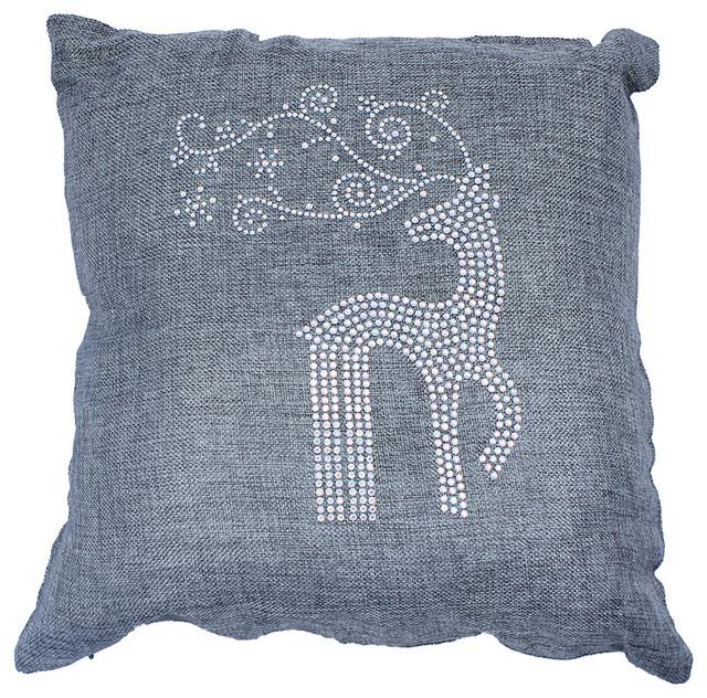 Holiday Throw Pillow With Rhinestone Reindeer And Snowflakes Mesmerizing Rhinestone Decorative Pillows