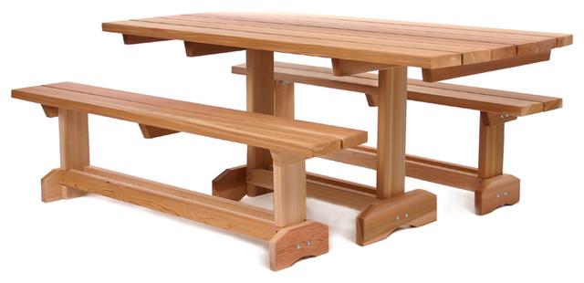 Cedar 3 Piece Market Picnic Patio Table 8 Person