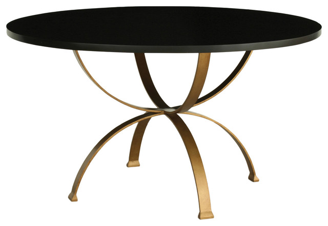 Redford House Sophia Round Dining Table in Espresso/Gold