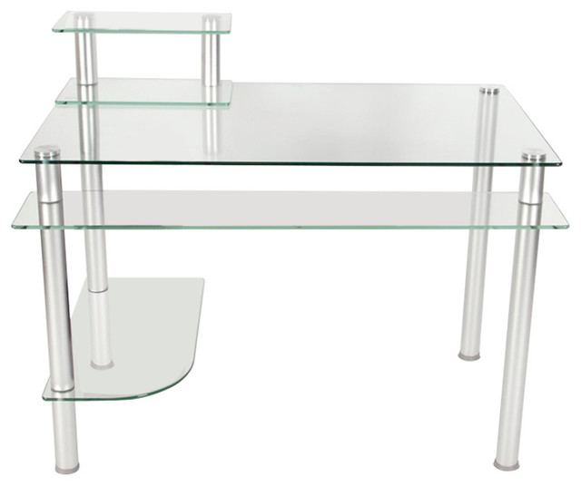 Glass And Aluminum Computer Desk Modern Desks And Hutches By Rta Home And Office