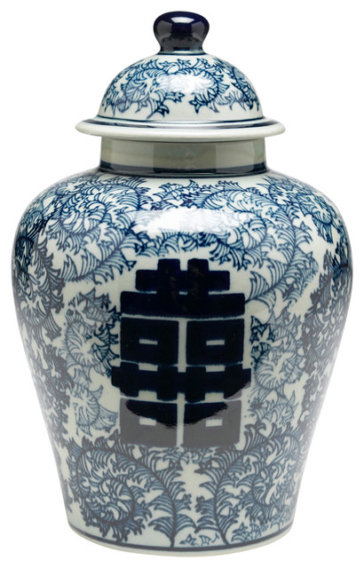 e53d6a4312aa Antiqued Pale Green and Blue Ginger Jar With Lid - Asian - Decorative Jars  And Urns - by Orchard Creek Designs