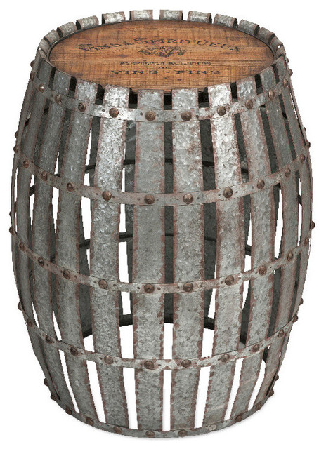 Classic Style Silver Gibbs Wood And Metal Barrel Home Accent Decor